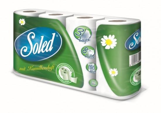 Soled Kamille Toilettenpapier, 3 Lagen, 8x150 Blatt
